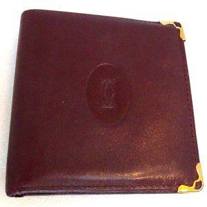 Auth Must de CARTIER Wallet Bifold Purse Coin